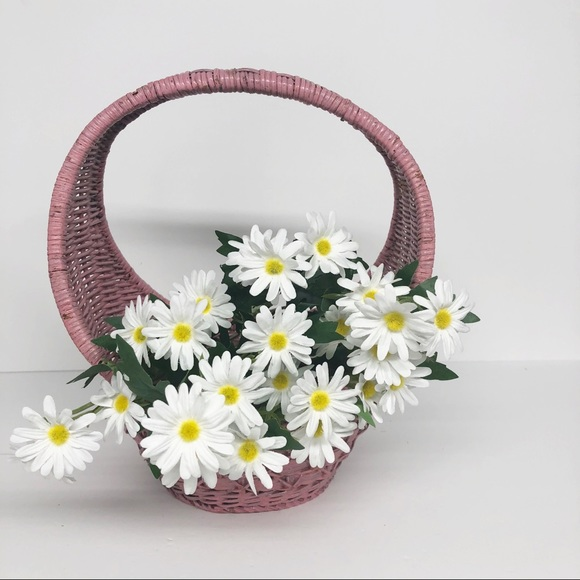 Vintage Shabby Chic Pink Wicker Basket Home Decor